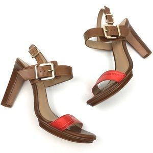 Antonio Melani brown leather heeled sandal NEW